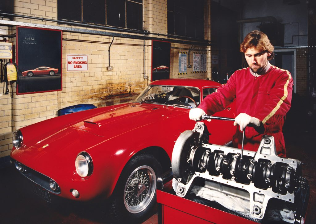 Iain Tyrrell working on Ferrari 250GT Tour de France v12 engine in 1995.