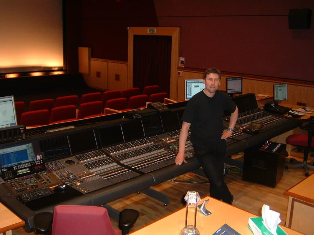 Iain at the mixing desk in Pinewood Studio One  where all of the Bond films were mixed.